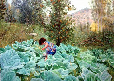 Girl and garden